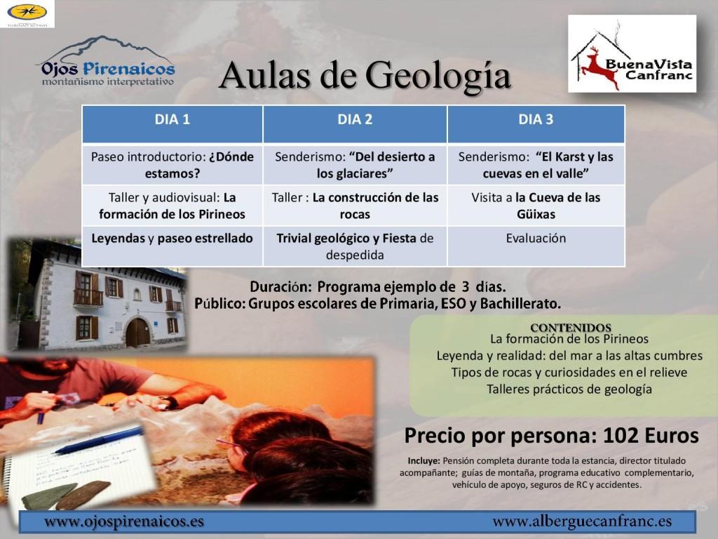 Aulas de Geología en Canfranc-Albergue DGA 2015-2016