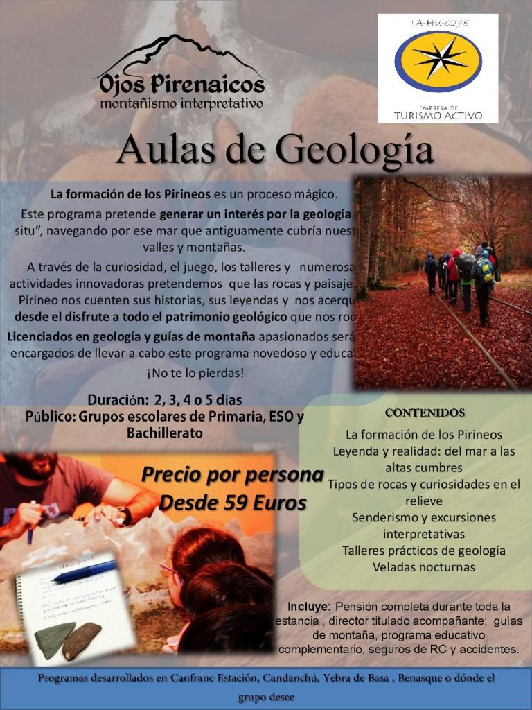 Aulas de Geología en el Pirineo 2016-17 para escolares